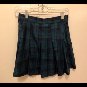 Blue and green plaid skirt